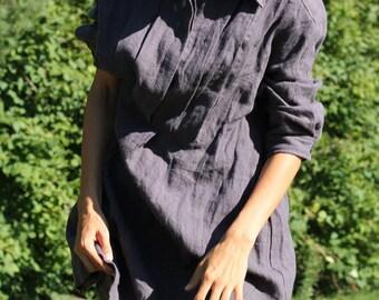 Loose linen dress, linen tunic dress, linen dress plus size, loose linen dress, womens linen clothing, linen dress for women