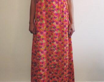 Vintage Neon Floral Empire Waist Maxi Dress