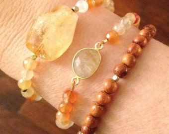 Citrine and Carnelian Bracelet