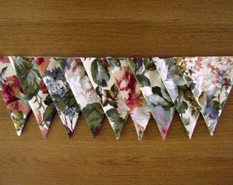 Vintage Floral Pink Green and Blue Lined Fabric Bunting
