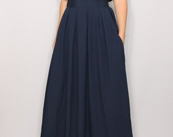 Navy maxi skirt maxi skirt with pockets high waisted maxi
