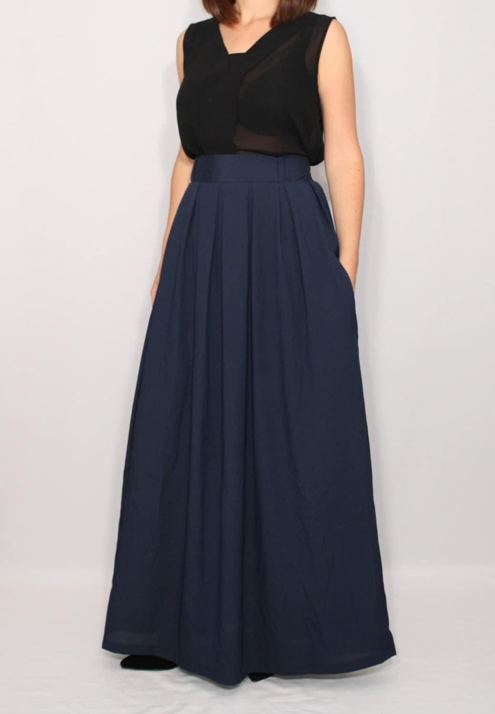 navy skirt chiffon maxi skirt high waisted maxi skirt