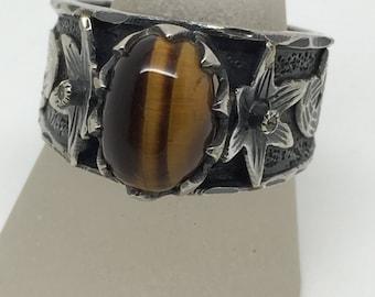 Tiger Eye silver ring,Tiger Eye ring,Tiger Eye stone,Tiger Eye gemstone, stone jewelry, silver ring,handmade silver ring