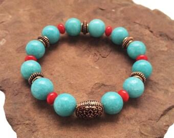 Blue Jade - Red Coral - Antique Copper Bead Stretch Bracelet