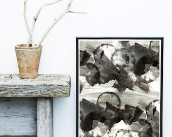 Watercolor Print, Abstract Art Print, Printable Art, Minimalist Art, black Abstract, Abstract Wall Art, Digital Download