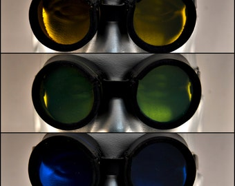 Handmade Black Leather Goggles w/ colored lens