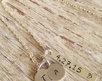 Date Necklace - Anniversary wedding special date hand stamped pendant, initial necklace / Personalized jewelry / wedding date necklace