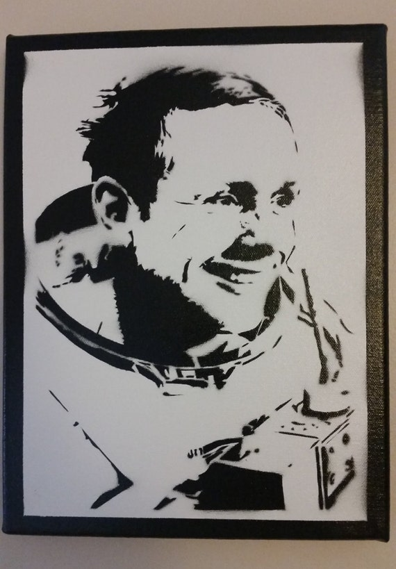 Neil Armstrong Stencil Spray Painting