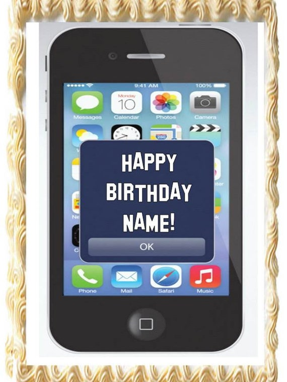 Edible Cake Images Iphone : Cell Phone IPHONE Theme Party Edible Cake Topper Image