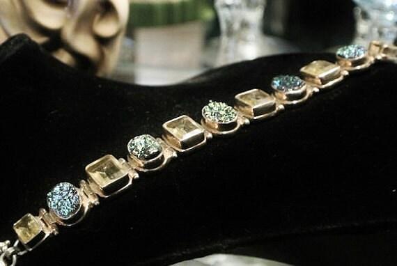 Druzy Bracelet / Drusy Bracelet / Rainbow Druzy Quartz / Sterling Silver