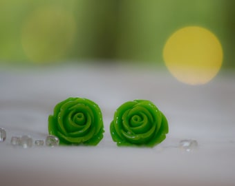 Lime Green Rose Earrings
