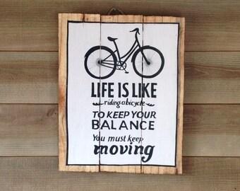 Bike - Decorative wood panel - painting on wood - panel vintage