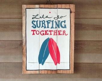 Let's surf - decorative wood panel - painting on wood - panel vintage