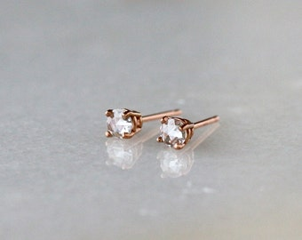 Rose Cut Diamond Stud Earrings, Solid 14k Gold Earrings, Diamond Studs, Gift for Her, Prong Setting, Eco Friendly, Conflict Free