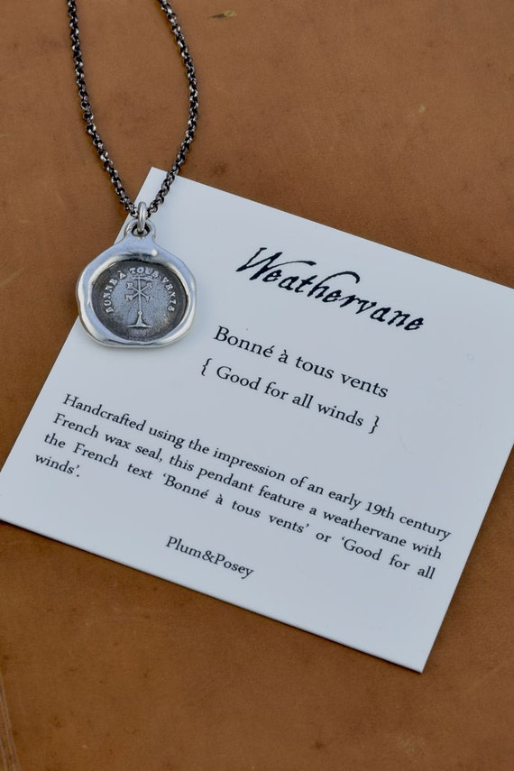 Wind Wax Seal Necklace - A good wind - Weathervane Necklace - 167