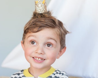 MAX CROWN //Where the Wild Things are Inspired mini crown// /smash cake // glitter crown// Headband Crown