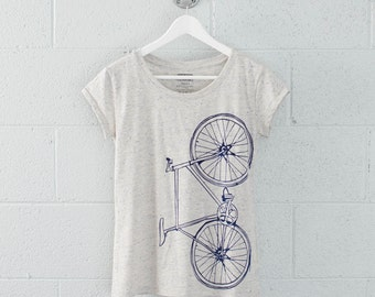 Women's Medium Fixie Bike Tee, Navy on Eco-Wheat