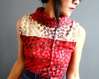 Landscape of Love - iheartfink Handmade Hand Printed Womens Red White Floral Wearable Art Print Sleeveless Jersey Cowl Top