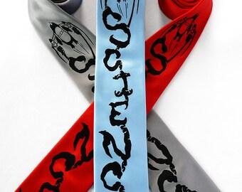 Science Necktie, Science Gift, Teacher Gift, Penguin Necktie, Engineer Gift - Jetpack Penguin Rocket Science Tie