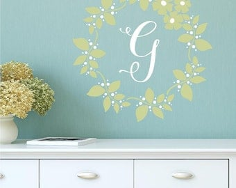 Floral Wreath Initial Monogram Wall Decal • Vinyl Wall Decal Nursery Girl Bedroom Decor • Family Monogram Script Lettering
