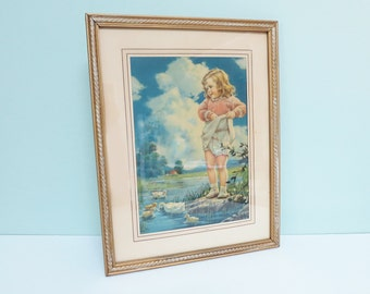 1940s Girl and Ducks Framed Calendar Print by Mabel Rollins Harris