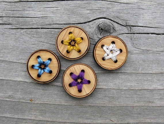 "Four Bamboo Star Buttons (3/4"", 1"" and 1 1/4"")"
