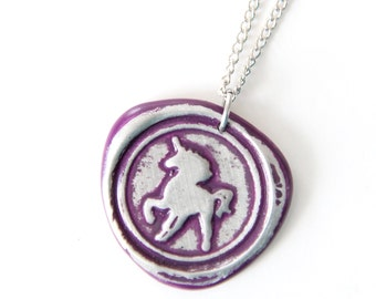 unicorn wax seal stamped necklace by Ritzy Misfit