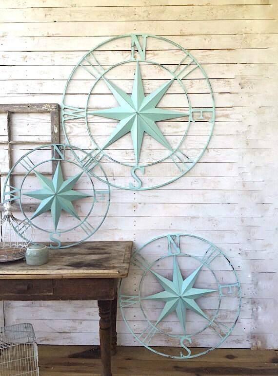 nautical wall decor metal compass wall art nautical wall. Black Bedroom Furniture Sets. Home Design Ideas