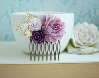 Lilac Purple Rose, Ivory, Gold Plated Leaves, Flower Hair Comb. Bridesmaid Gift, Fall Rustic Purple Ivory Wedding. Autumn Wedding, Country