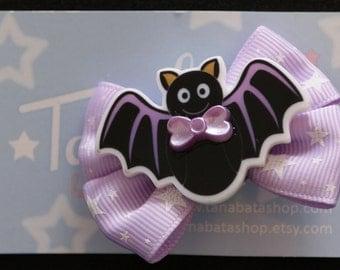 Starry Bat Two-Way Clip Black Lilac Large Hair Bow Brooch Hairclip Spooky Creepy Cute Lolita Kawaii Pastels Star Ribbons Fairy-kei