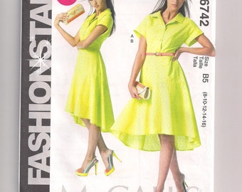 Dress and Slip Pattern, McCalls 6742, Pullover Dress, Shaped Hemline, Uneven Hemline, Bias Slip, Easy to Sew Pattern,  8 10 12 14 16 Uncut