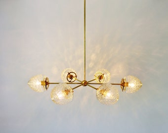 Modern Brass Chandelier With Clear Glass Acorn Shades, 6 Sockets, Handmade Hanging Lighting Fixture, BootsNGus Lights and Home Decor