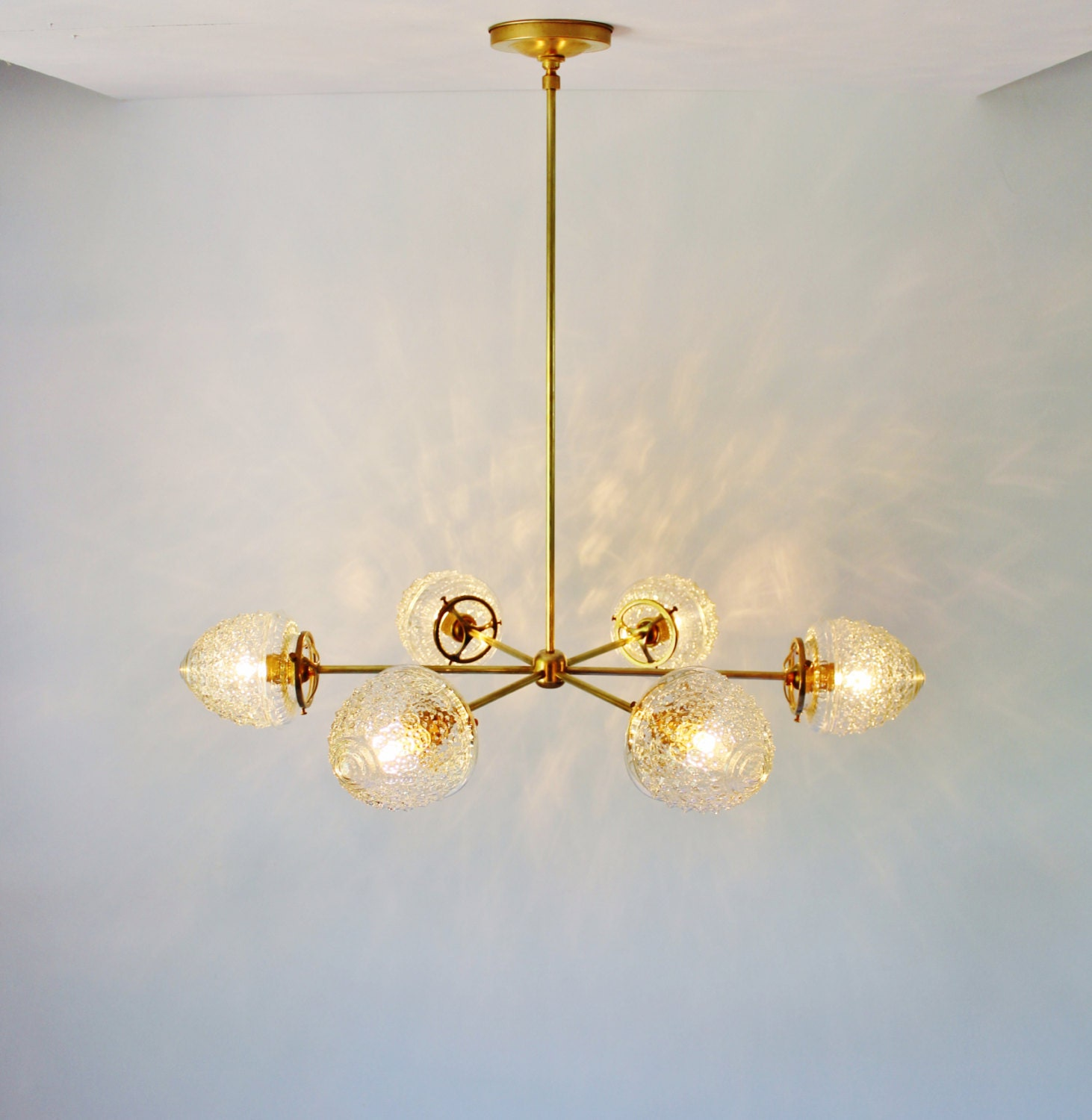 Modern Brass Chandelier With Clear Glass Acorn Shades 6