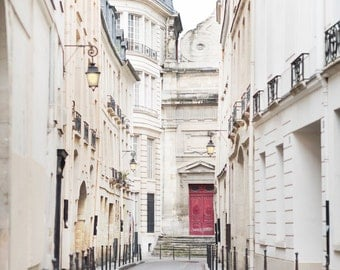 Paris Photography - Rue Aubriot, Street in Le Marais, Maroon Door, France Travel Photograph, French Home Decor, Large Wall Art