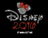 """8"""" Minnie Mouse Disney 2016 iron on rhinestone transfer your color choice"""