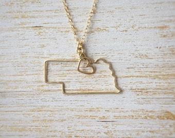 Nebraska Necklace - Nebraska State Necklace - State Jewelry - Personalized Gift - Nebraska State Necklace - Silver Gold Necklace - Midwest