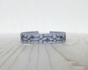 Soft Grey Hand Embroidered Bracelet - Floral Embroidery Cuff Bracelet