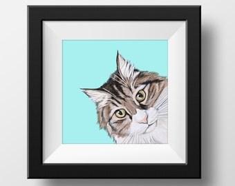 Custom Cat Portrait - 8x10 inch Painted Portrait - Custom Pet Portrait - Cat Portrait -CatPainting - Custom Pet Painting- Cat Art