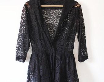 50's Stevie Black & Burgundy Lace Peplum Jacket Sz S
