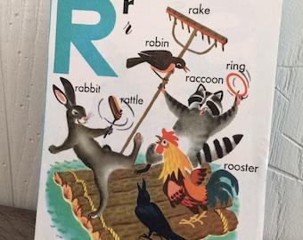 Vintage Children's Book Art Block - Nursery Decor - Vintage Illustration - Letter R