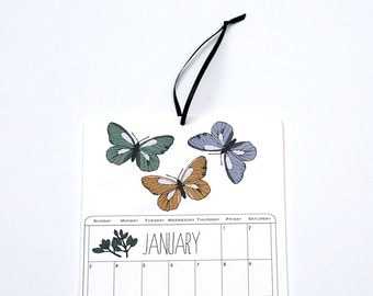 2016 Wall Calendar, 5.5x8.5 inches featuring 12 different illustrations in green, gold, mustard, taupe, gray, lilac and purple