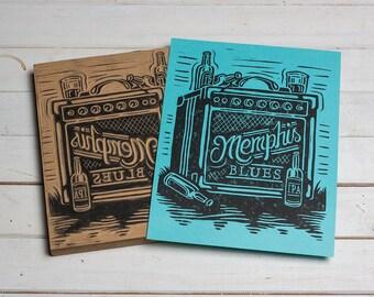 Memphis Blues - Blue Block Print