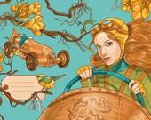 Retro und Steampunk illustrierte Postkarte: Fahrerin