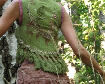 Fractal forest  womens's clothing fairy elven festival vest with long tassels