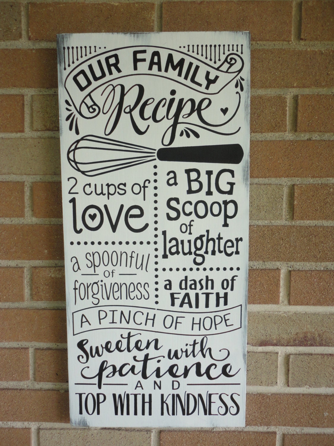 Kitchen farmhouse decor our family recipe kitchen sign home for Kitchen decoration signs