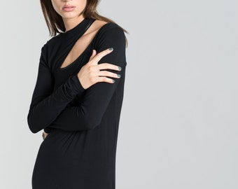 Black Dress / Women's Dress / Long Sleeve Dress / Designer Dress / Faux Leather Dress / Cocktail Dress / marcellamoda - MD362