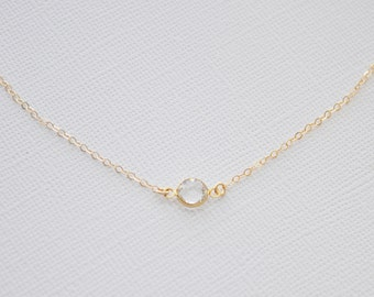 Clear Tiny Crystal Necklace - swarovski crystal round diamond gem gold filled chain dainty wedding - simple everyday jewelry - adenandclaire