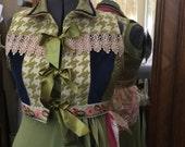 Boho Chic Jean Vest Size Large Eclectic Velvet, Lace, Tapestry & Ribbon Tie FUN FUN