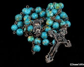 Catholic Rosary Mosaic Turquoise Antique Copper Traditional Rustic Stone Rosary Beads