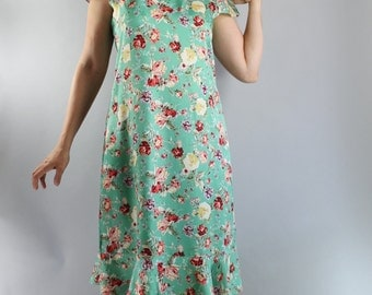 Vintage 90s does 20s Bright Green Roses Print Afternoon Tea Dress // Garden Party Dress